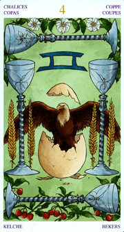 Universal Wirth Tarot, 4 of Cups - Fool Position