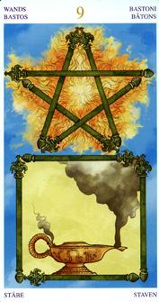 Universal Wirth Tarot, 9 of Wands - World Position