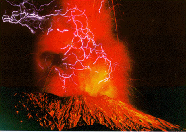 Picture of volcanic lightning from Thunderbolts.info